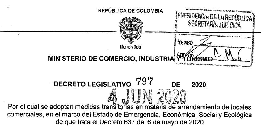 NORMAS DE TERMINACION DE CONTRATOS DE ARRENDAMIENTO COMERCIAL EN LA EMERGENCIA SANITARIA